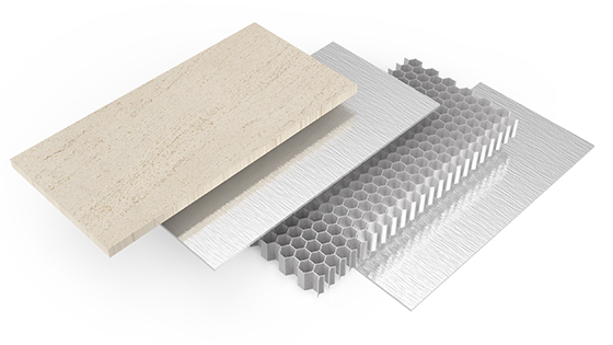 Stone Honeycomb Panels with Brazed Backing